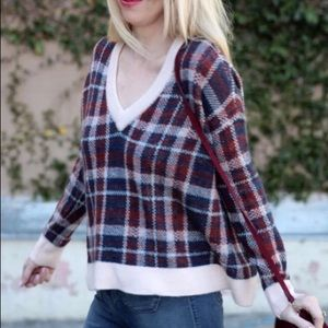 Banana Republic plaid sweater in burgundy and blue